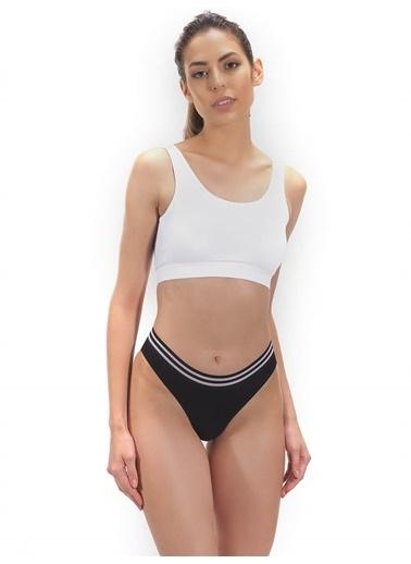 Cottonhill Koyu Kobalt Spor Basic Şerit Lastikli Pamuk Kadın Bikini Külot Siyah